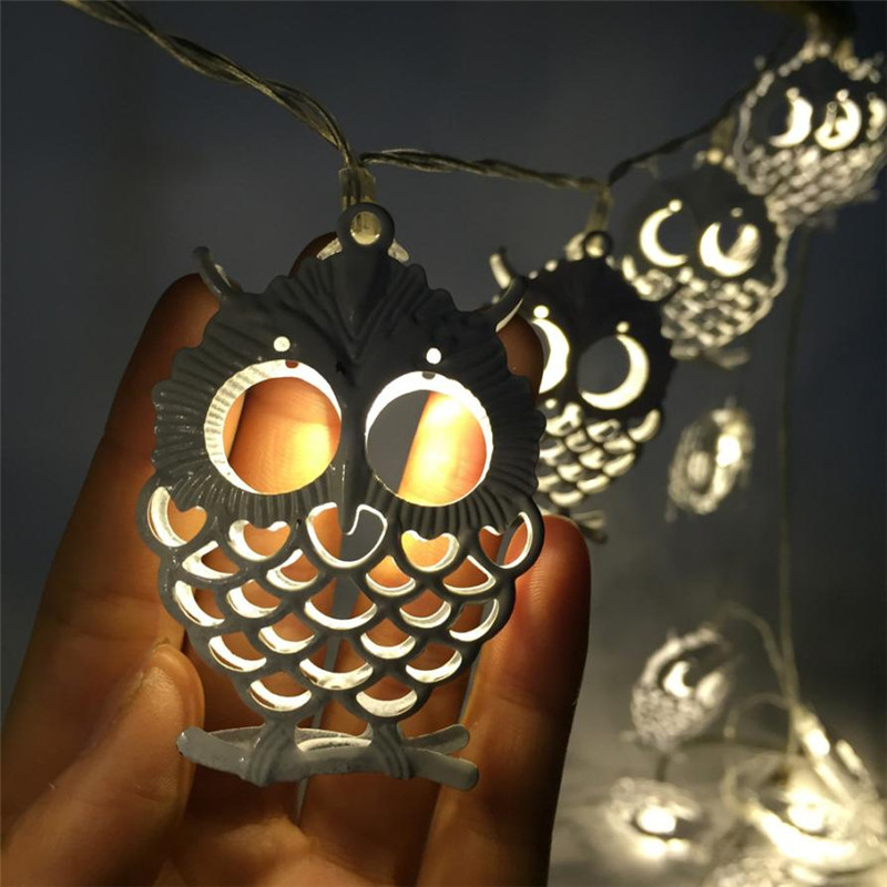 Battery Powered 1.2M 10LEDs Owl Shaped Indoor Fairy String Light For Halloween Christmas