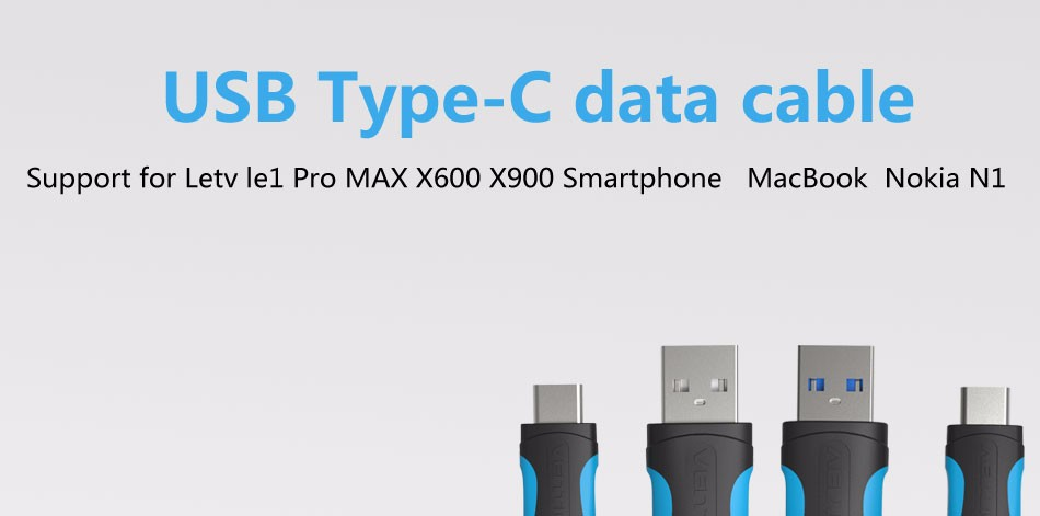 Vention VAS-A08 USB2.0 Type-C Flat Data Sync Chargering Cable