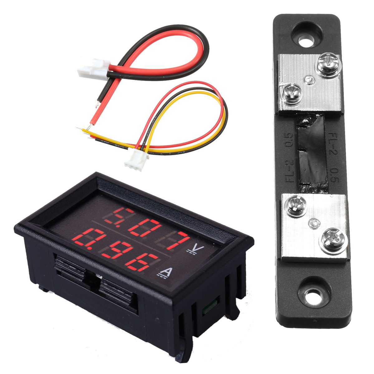 300V 50A DC Car Dual Volt Meterr Ammeter LED Display Amp Volt Meterr 12V And Shunt