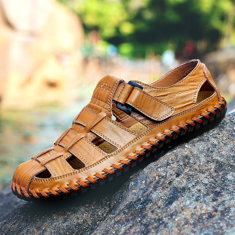Genuine Leather Breathable Hollow Out Sandals