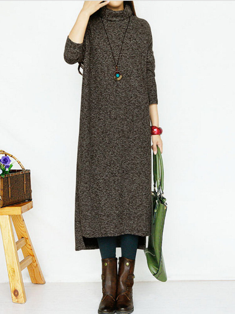 Casual Women Turtleneck Knitting Dress