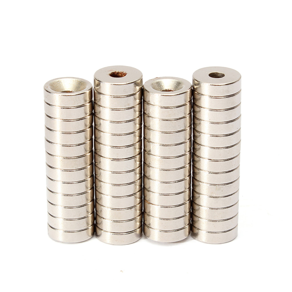 Effetool 50pcs N50 10x3mm Strong Ring Magnets 3mm Hole Rare Earth Neodymium Magnet