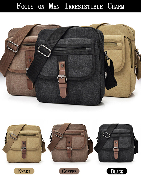Men Canvas Multifunctional Vintage Crossbody Bag Shoulder Bag Casual Business Travel Pack