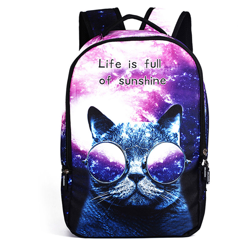 IPRee® Polyester Cartoon Laptop Backpack Cute Animal Dog Cat Print Schoolbag Rucksack