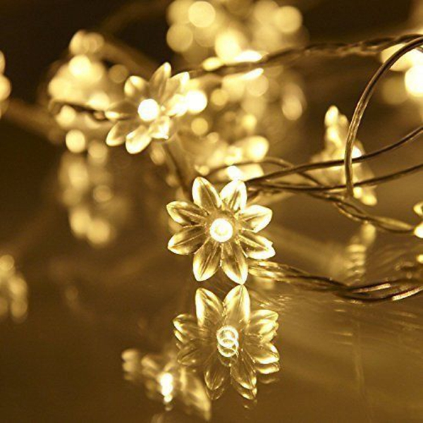 Battery Operated 2.5M Warm White 20LEDs Flower Petal Shape Indoor Fairy String Lights for Christmas