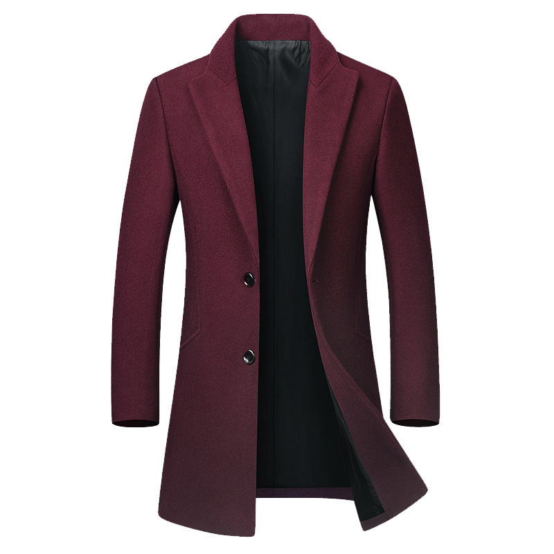 Mens Business Casual Woolen Mid-long Slim Fit Trench Coat