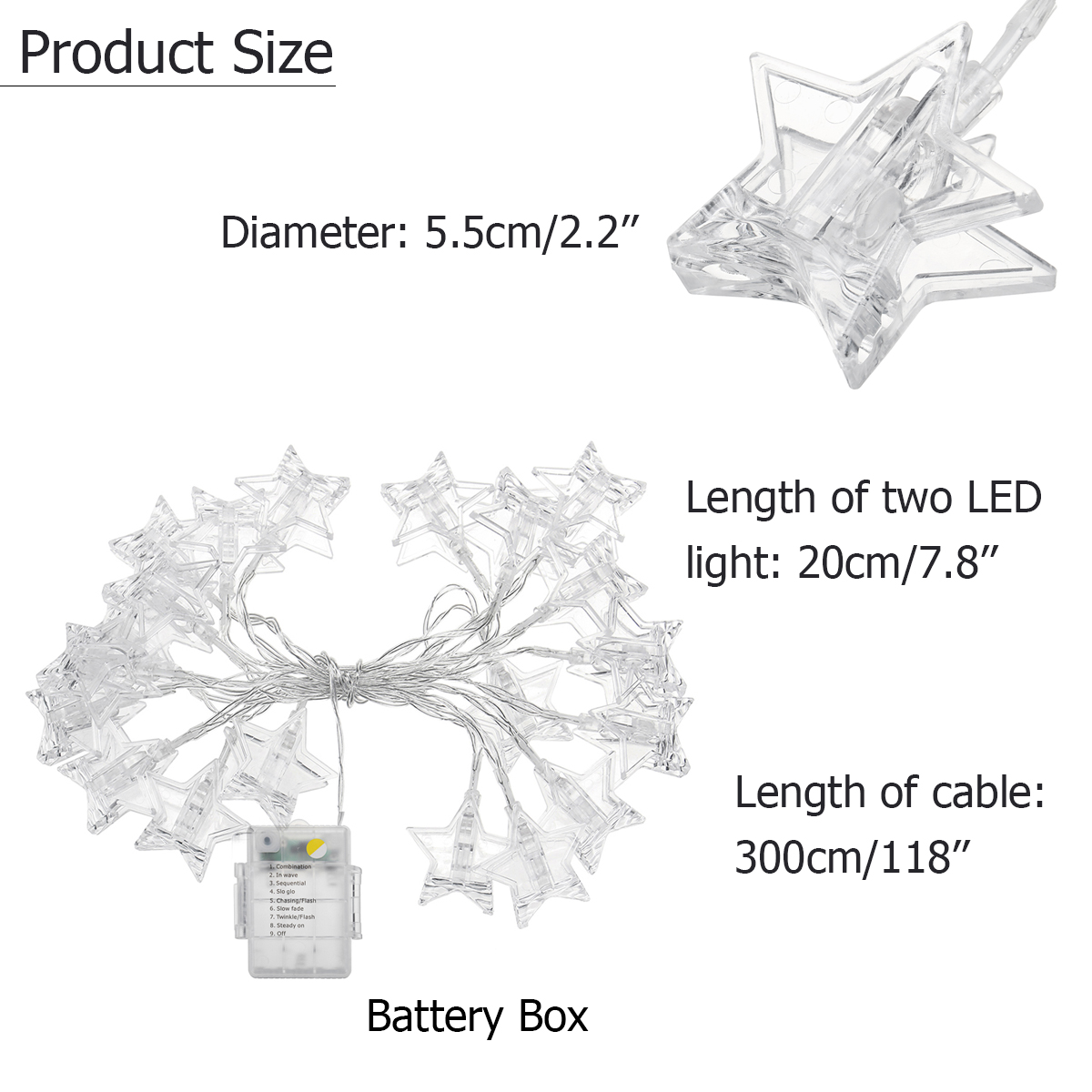 3M Battery Operated 8 Modes Remote Control 20 LED Photo Clips String Light Christmas Wedding Decor