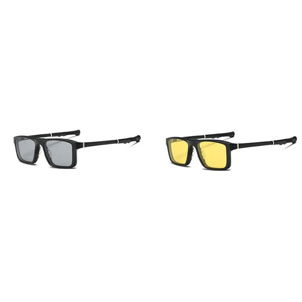 Two-in-One Retractable Sports Glasses Day and Night Polarized Magne Basketball Sun Glassess Set