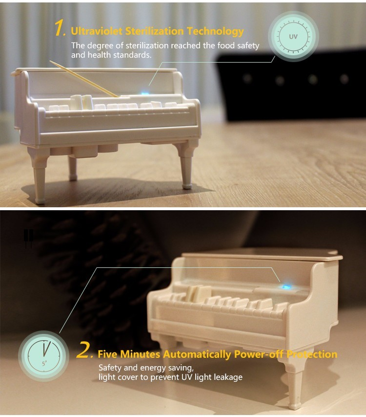 Honana DX-F2 Creative Automatic UV Sterilization Piano Toothpick Holder Table Decor Articles