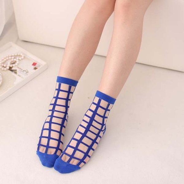 Women Girls Summer Transparent Hipster Socks Plaid Grid Crystal Silk Lace Mesh Ankle Socks
