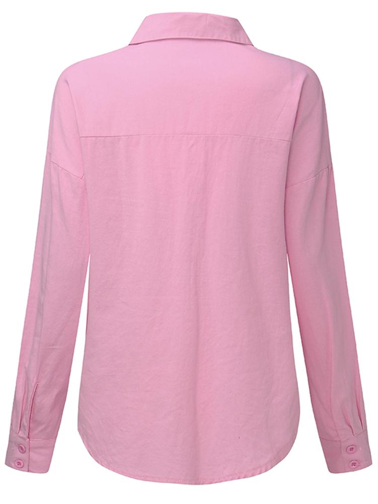 Pink Women Turndown Collar Pocket Long Sleeve Button Up Shirt