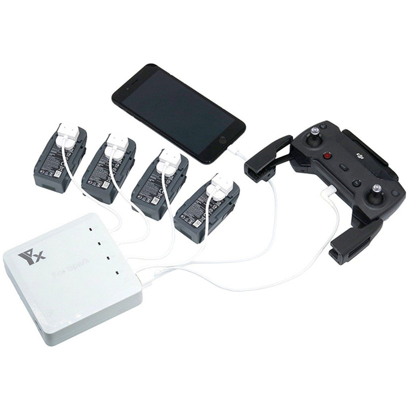 6 In 1 Multi Battery Dual USB Remote Controller Phone Charger Hub Parallel For DJI Spark Drone