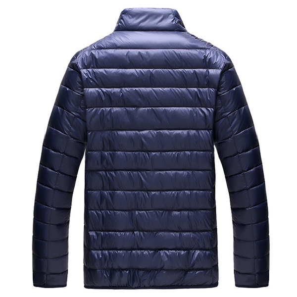Mens Portable Stand Collar Duck Down Jacket Light Thin Autumn Solid Color Casual Coat 8 Colors