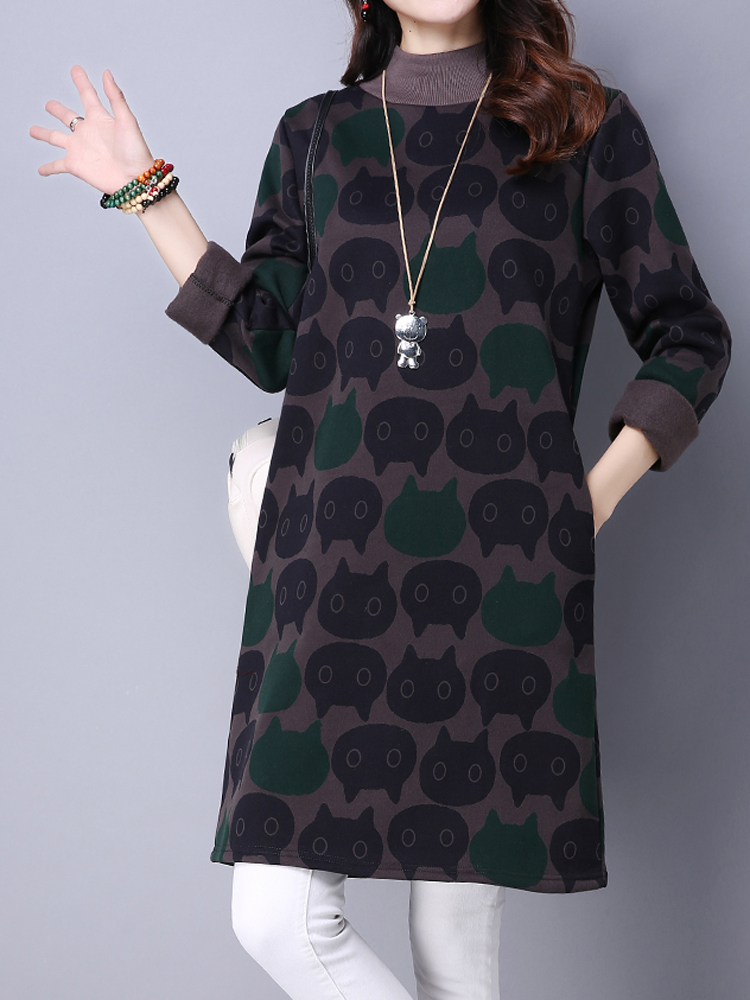 Cat Printing Turtleneck Long Sleeve Loose Thick Women Sweatshirt Dress