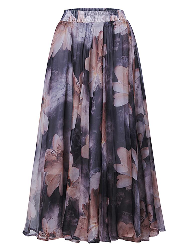 Bohemian Chiffon Elastic Waist Floral Print Pleated Women Maxi Skirt