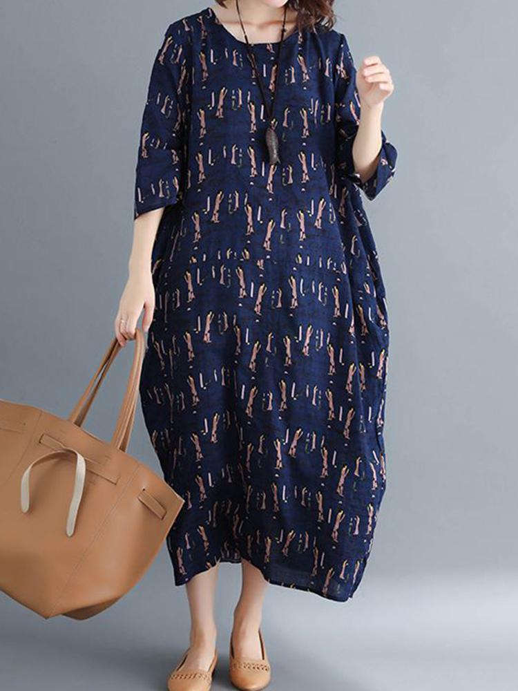 Women Casual Cartoon Print O-neck Half Sleeves Loose Dress