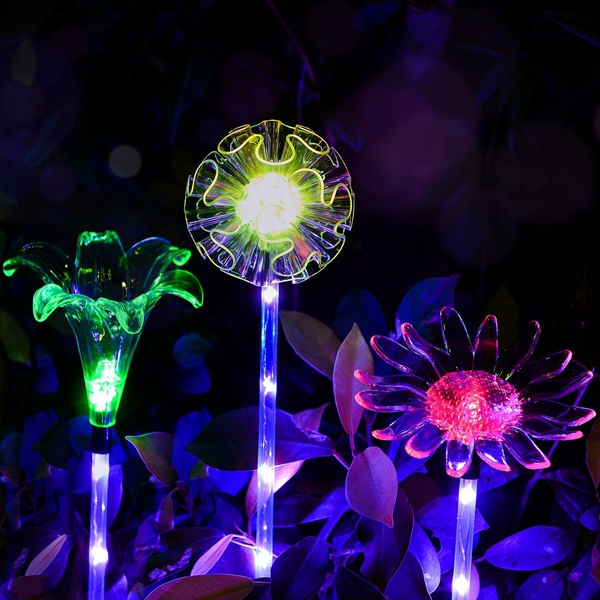 ARILUX® Solar Multi-Color Changing LED Flower Stake Light Transparent Lampshade Luminous Pole