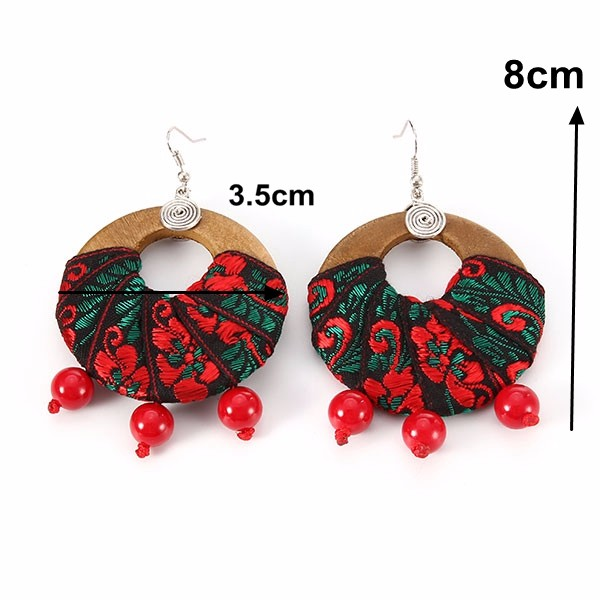 Ethnic Style Women Jewelry Handmade Statement Retro Wood Hoop and Beads Pendant Earrings