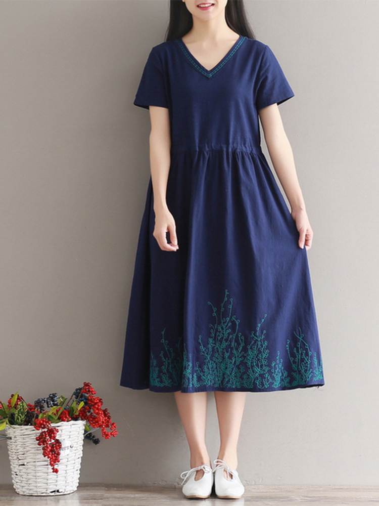 Mori Girl Pure Color Embroidered V-Neck Swing Midi Dress