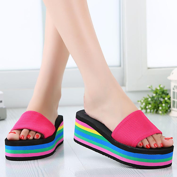 6281c9e3c55 Women Casual Flip Flops Foam Beach Sandals Rainbow High Platform Wedge  Slipper Shoes