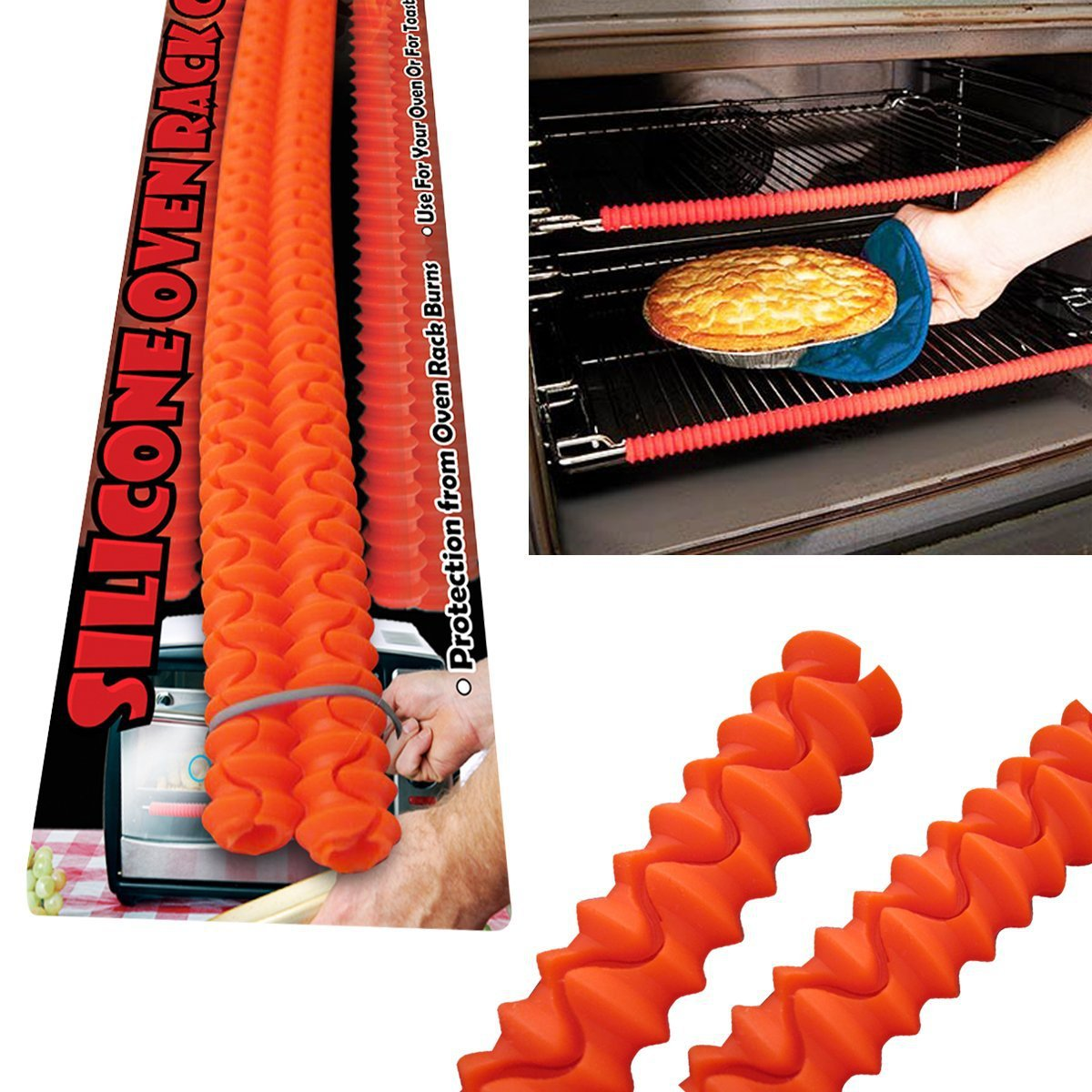 Honana KC-020 Enipate Silicone Oven Rack Edge Guards Protector Clip Guard Baking & Pastry Tools Heat Resistant Red Avoid Burns