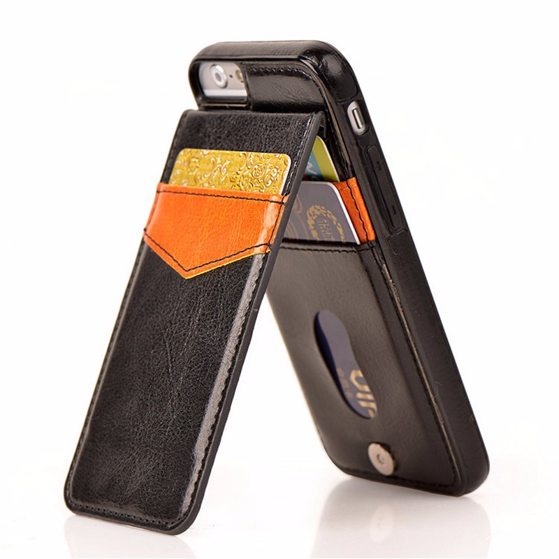Card Holder PU Leather Shockproof Case For iPhone 7