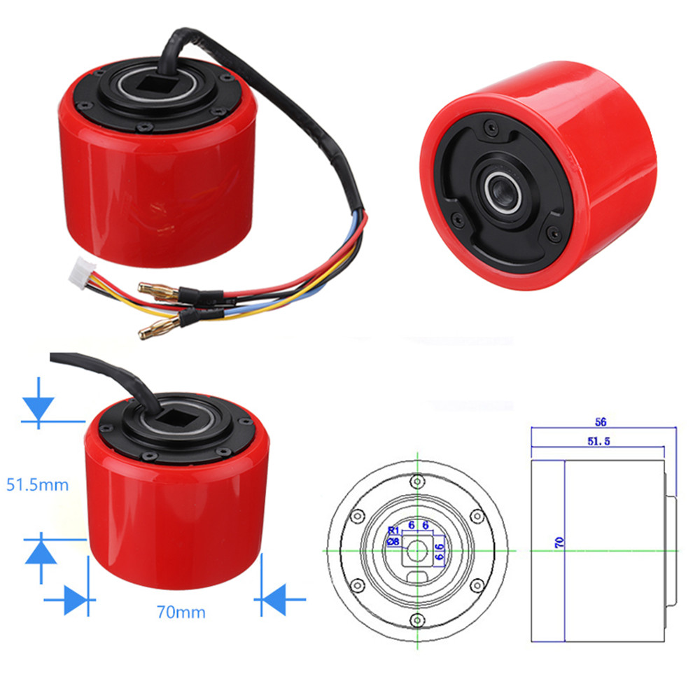150W 24-36V 0.3A Brushless Motor for DIY Electric Skateboard Wheel Scooter