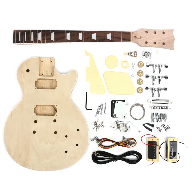 DIY Electric Guitar Solid Wood With Body Neck String Tunning Pegs Unfinished Guitar Kit