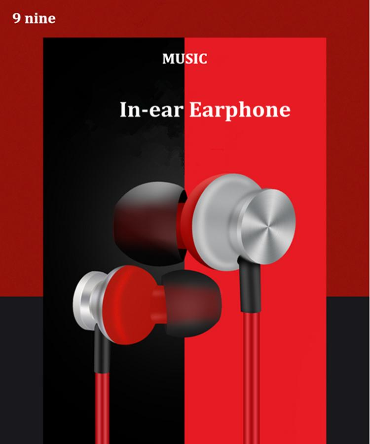 NINE Sport Running Light Weight Stereo Heavy Bass HIFI Music In-ear Earphone Headset with MIC for Mobile Phone