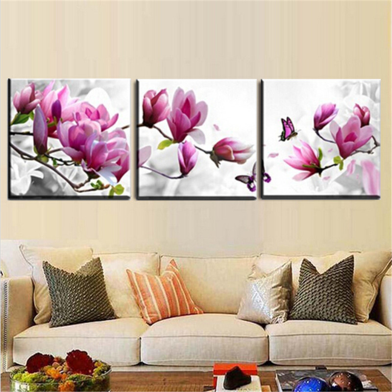 3Pcs Flower Combination Painting Printed On Canvas Frameless Drawing Home Wall Decor Gift