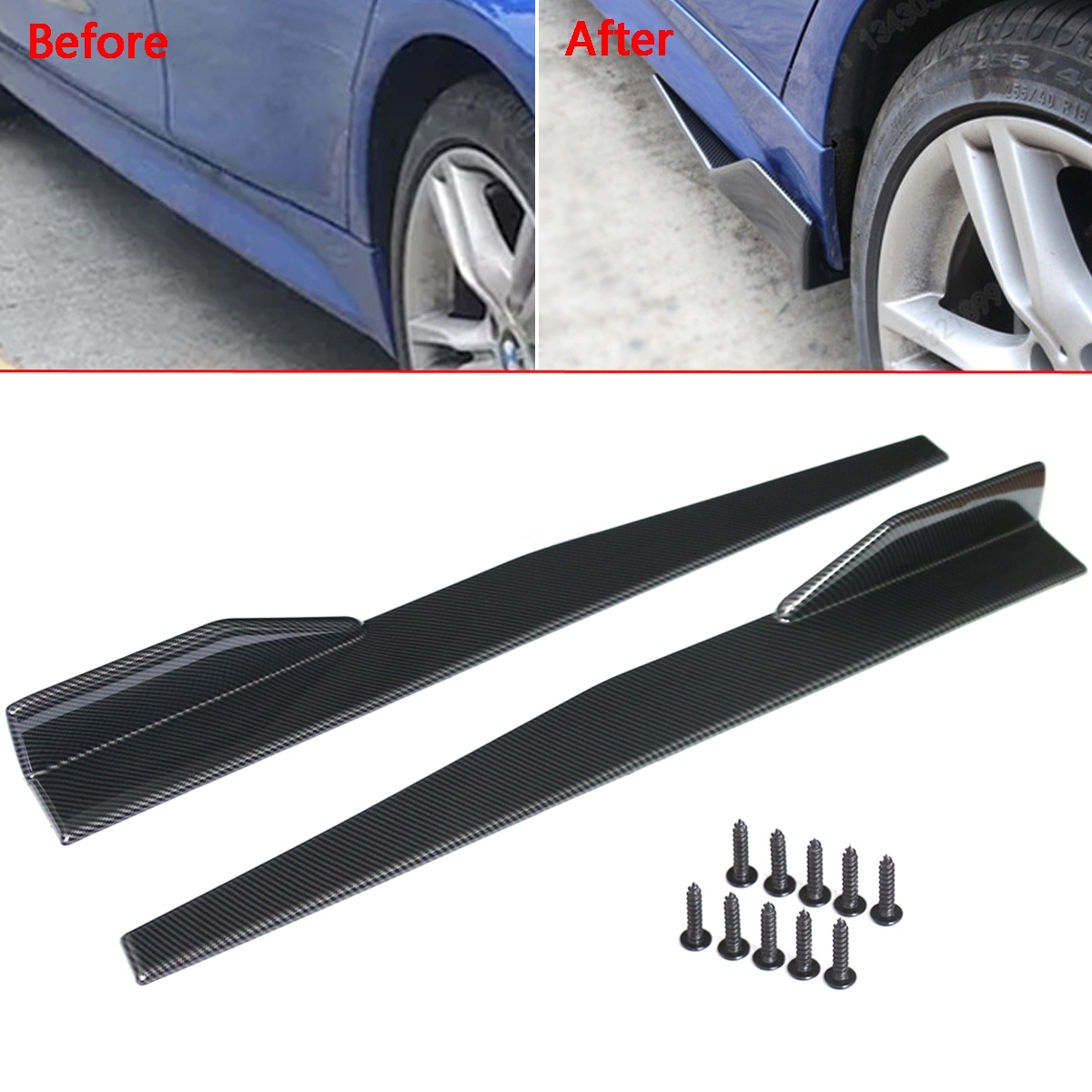 Pair Carbon Fiber Modified Car Side Skirt Rocker Splitters Diffuser Winglet Wings Bumper Protector 86CM Universal
