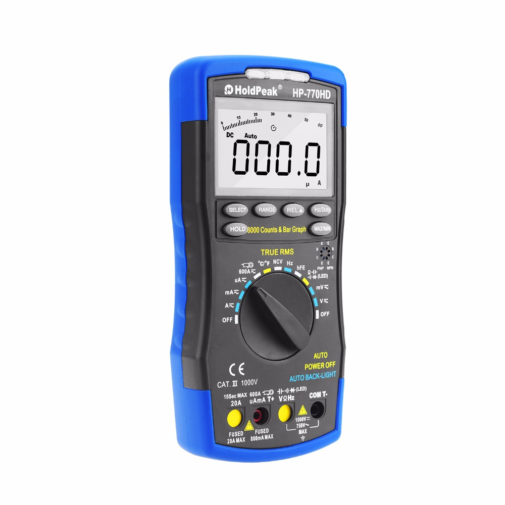 HoldPeak HP-770HD Autorange Digital Multimeter True RMS AC/DC Voltage Frequency Electrical Tester