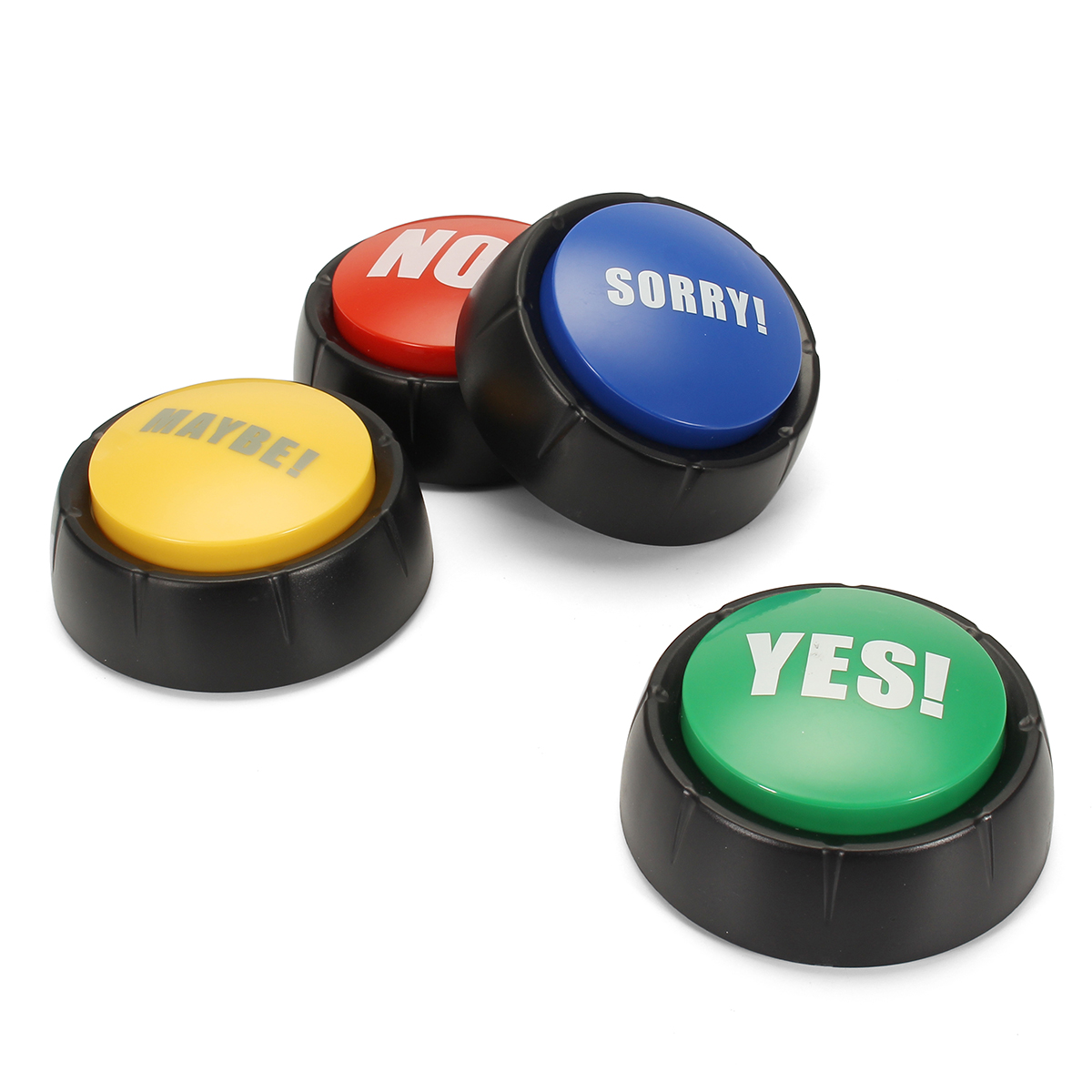 4pcs NO YES MAYBE SORRY Sound Button Event Game Party Tools Holiday Supplies