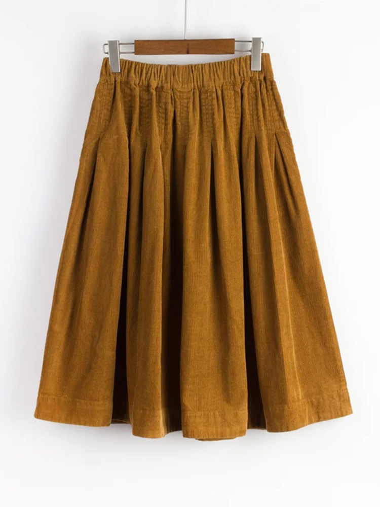 Mori Girl Pure Color Corduroy Skirt