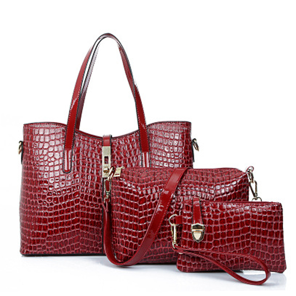 3 Pcs Women Stone Pattern Handbags Elgant Shoulder Bags Cluthes Bags Crossbody Bags
