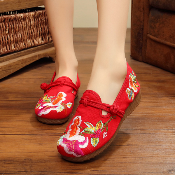 Women Casual Embroidery Floral Slip On Outdoor Flat Shoes