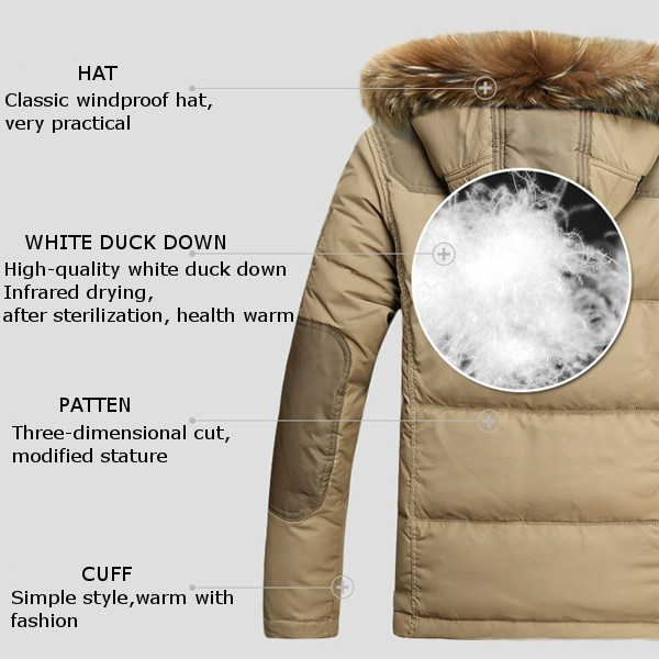 Mens Winter Outdoor Thick Warm Solid Color Fur Collar Duck Down Jacket Hooded Coat 4 Color