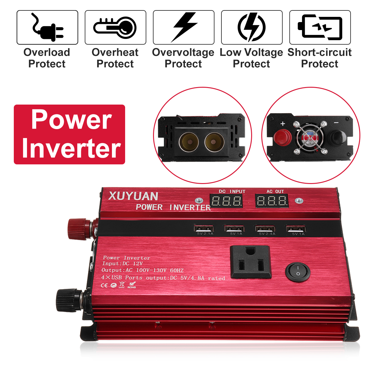 3000W 12V/24V DC to 110V/220V AC Solar Power Inverter LED Modified Sine Wave Converter