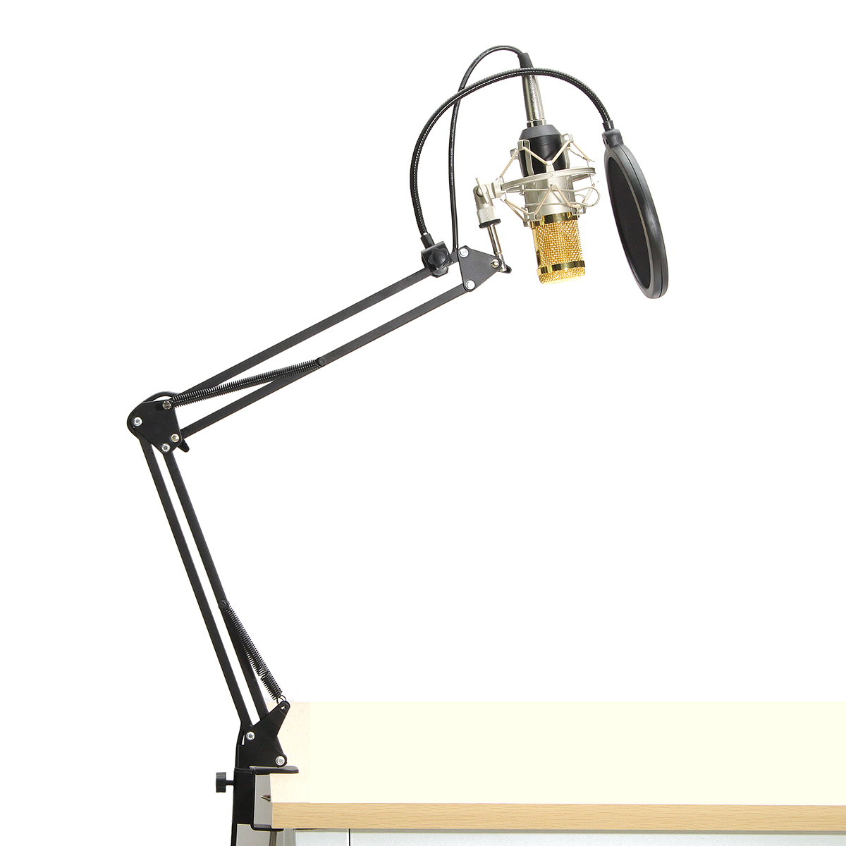 BM-800 Condenser Microphone Professional Studio Sound Recording With Boom Stand Pop Filter