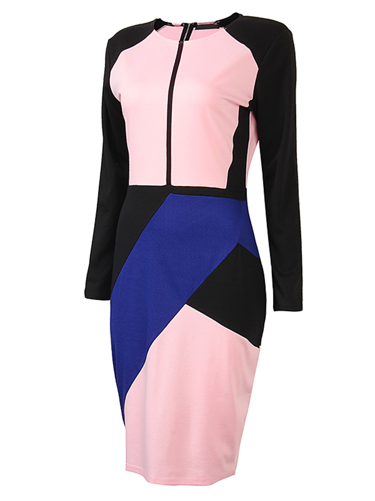 Women Casual Sexy Hit Color Stitching Long Sleeve Package Hip Dress