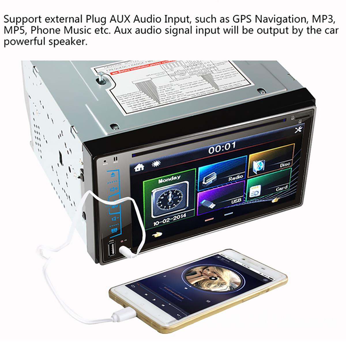 6.2 Inch HD Touch Screen FM USB Car bluetooth DVD Player