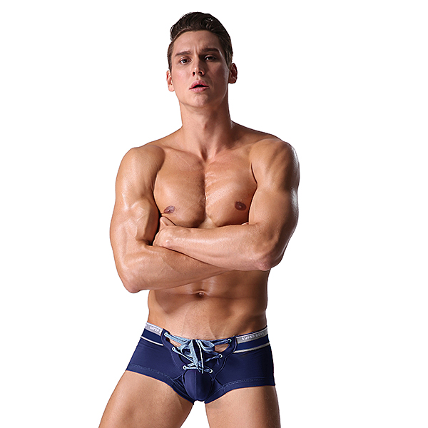 SUPERBODY Sexy Tether Underwear Pure Cotton Breathable Low Waist U Convex Boxers for Men