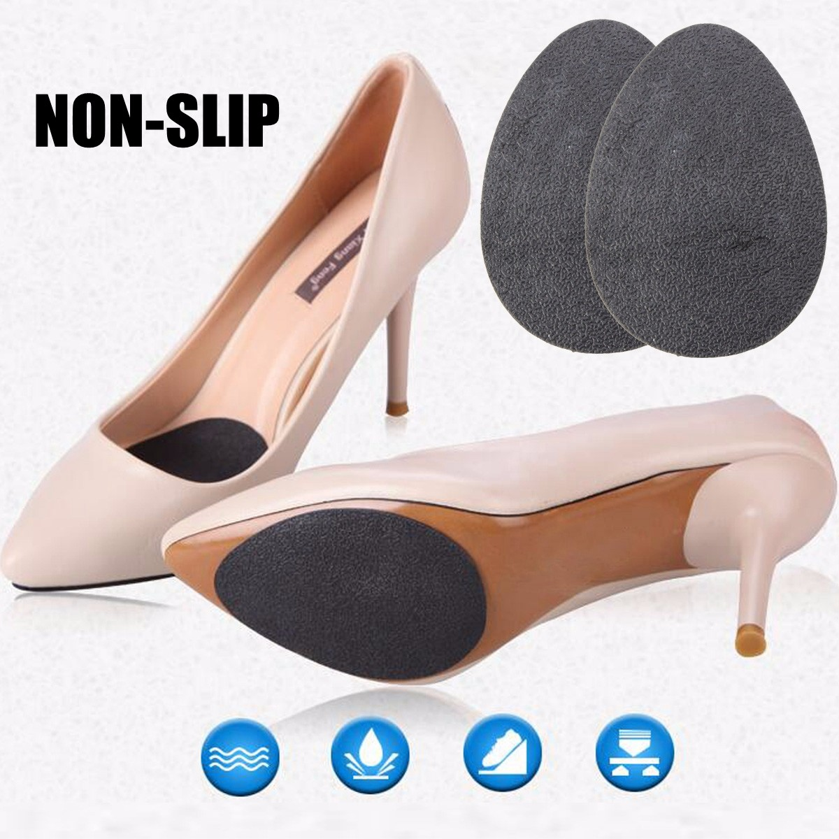 2Pcs Self-Adhesive Anti-Slip Sticky Shoe Grip Pads Non-slip Sole Protector Tape