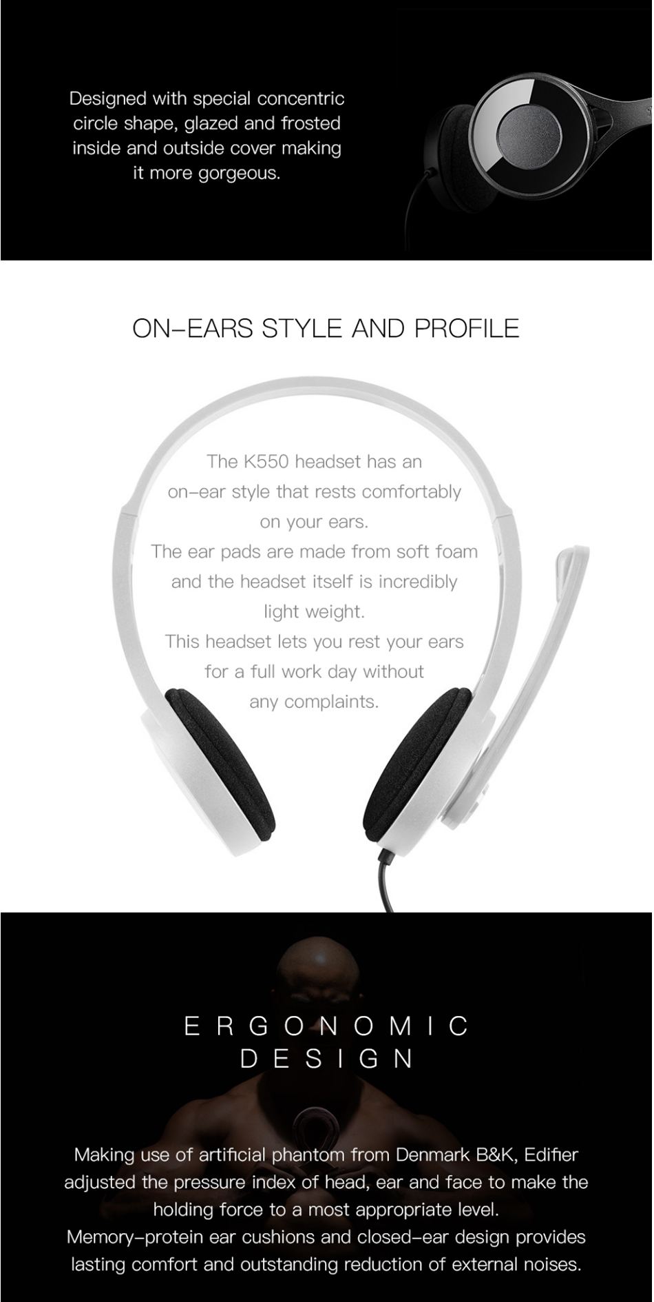 Edifier K550 Noise Cancelling Game Headset 30mm Neodymium Magnet Drivers Headphone with Microphone Line Control