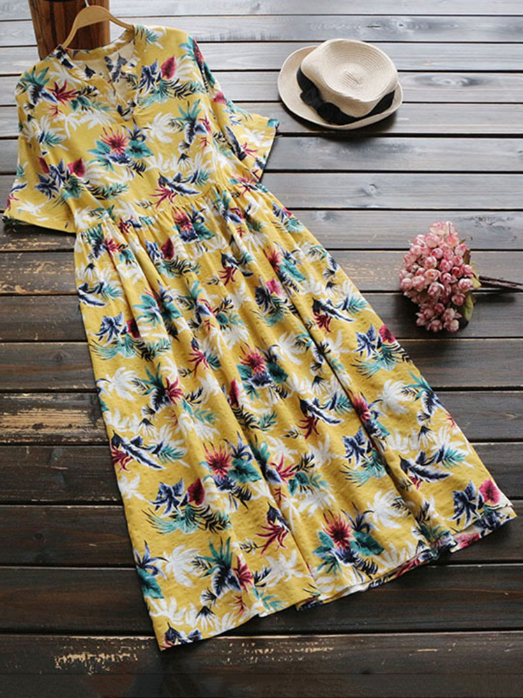 Floral Print Short Sleeve High Waist Vintage Dress