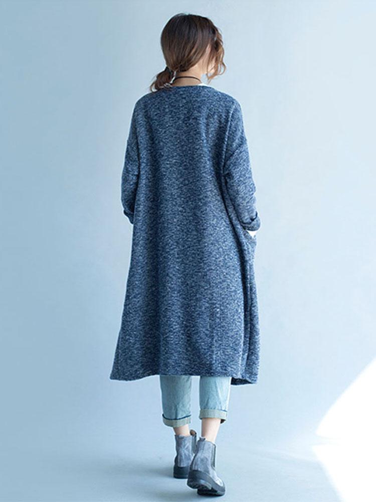 Casual Women Blue Pocket V-Neck Cardigans