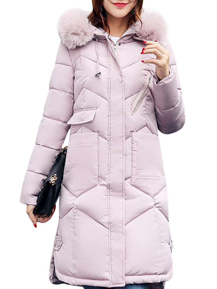 Women Pure Color Long Sleeve Hooded Mid-Long Down Coats