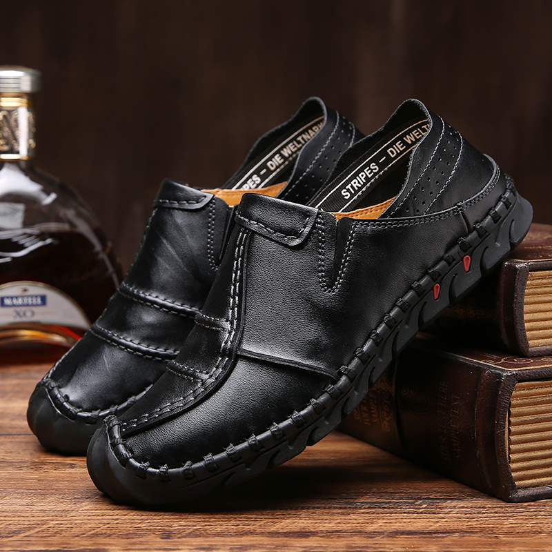 Men Splicing Genuine Leather Oxfords