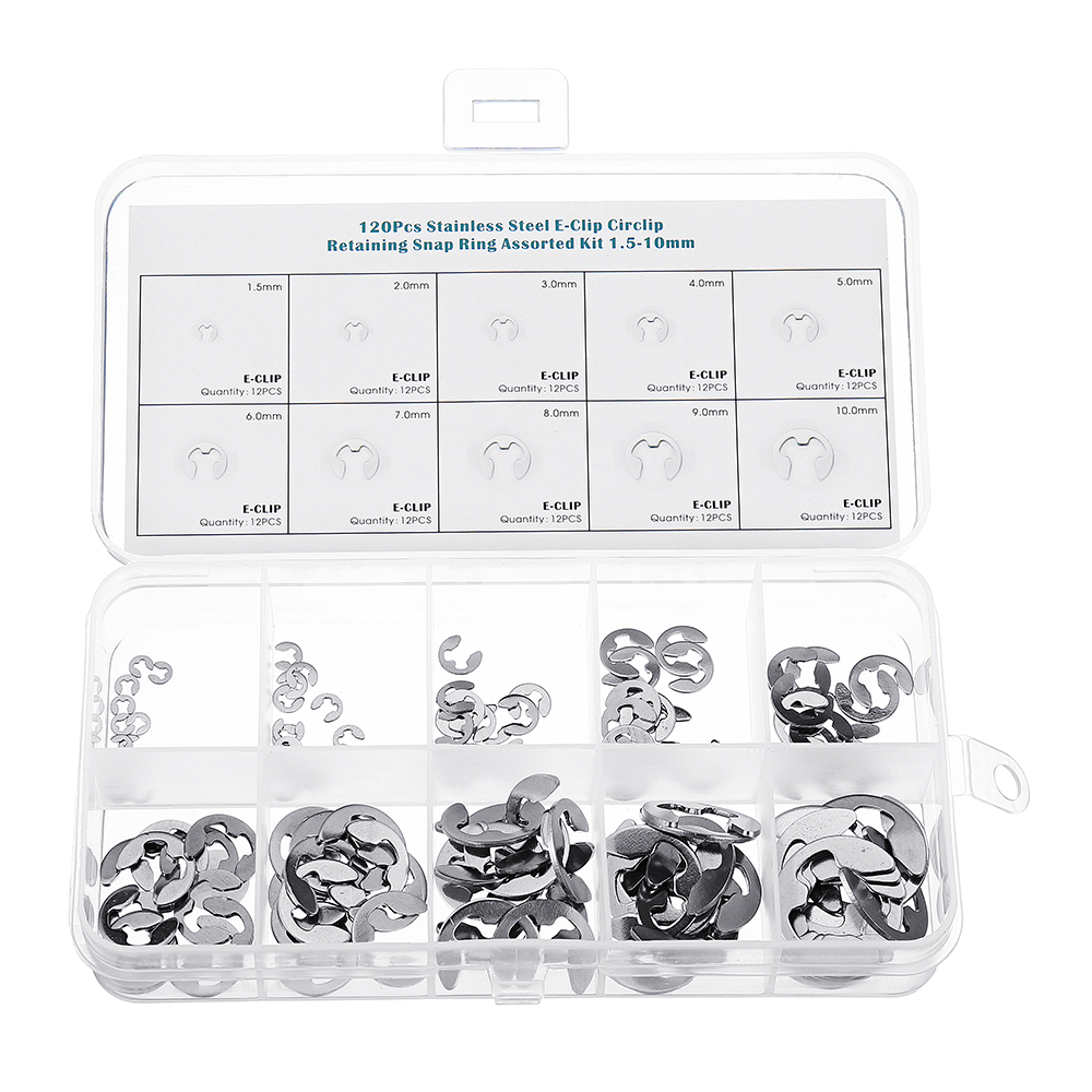 Suleve™ MXSC2 Stainless Steel E-Clip Circlip Retaining Snap Ring 1.5-10mm Assortment Kit 120Pcs