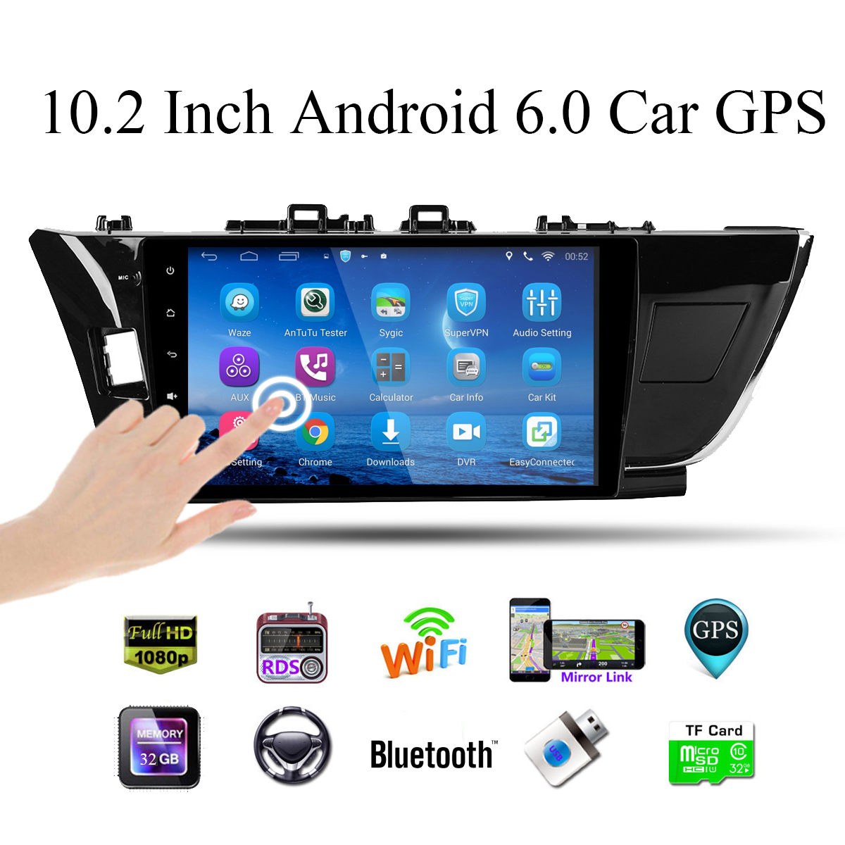 Android 6.0 4G Version 10.2 Inch Dual Spindle GPS Module Navigation For Toyota Corolla 2014-2016